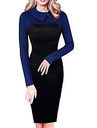 cheap -Women's Sheath Dress - Solid Colored Black Fuchsia Royal Blue S M L XL