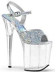 cheap -Women's Sandals Stiletto Heel Peep Toe PU British Spring & Summer Black / Light Blue / Silver / Wedding / Party & Evening