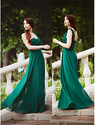 cheap -A-Line Elegant Prom Dress One Shoulder Sleeveless Floor Length Chiffon with Sash / Ribbon 2020