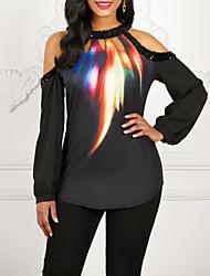cheap -Women's Galaxy T-shirt Daily Off Shoulder Black
