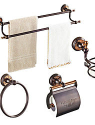 cheap -ORB  Solid Brass 4pcs - Towel bar /Toilet Paper Holders / Towel Rings/Hair drier rack Wall Mounted Oil-rubbed Bronze