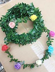 cheap -Simulation Green Leaf Rattan Rose Flower Vine Christmas Crafts Decoration DIY Garland