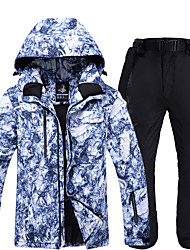 cheap -ARCTIC QUEEN Men's Ski Jacket with Pants Skiing Snowboarding Winter Sports Waterproof Windproof Warm POLY Eco-friendly Polyester Tracksuit Bib Pants Top Ski Wear