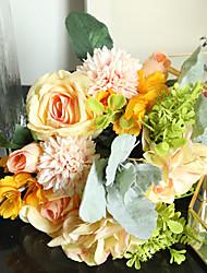 Недорогие -искусственные цветы 1 ветка свадебные цветы 12 дюймов 3 теплые розы простой стиль гортензии настольный цветок