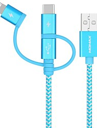 cheap -Micro USB / Lightning / Type-C Cable 1.0m(3Ft) Braided / 1 to 3 / Quick Charge Aluminum / Nylon USB Cable Adapter For iPad / Samsung / Huawei