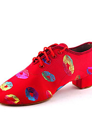 cheap -Women's Dance Shoes Canvas Jazz Shoes Heel Thick Heel Customizable Black / Red