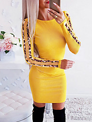 cheap -Women's Sheath Dress - Solid Colored White Yellow Red S M L XL