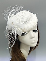 cheap -Feather / Dobby Fabric / Net Fascinators / Hats / Headwear with Pearl / Lace / Flower 1 Piece Wedding / Special Occasion Headpiece