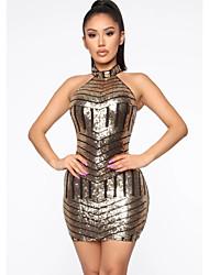 cheap -Women's Elegant Sheath Dress - Striped Print Gold S M L XL