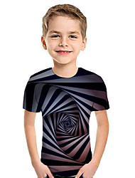 cheap -Kids Boys' Active Street chic Geometric 3D Patchwork Print Short Sleeve Hoodie & Sweatshirt Black
