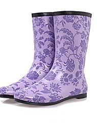 cheap -Women's Boots Low Heel Round Toe Rubber Mid-Calf Boots Fall Purple / Green