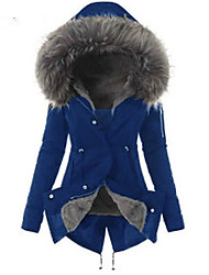cheap -Women's Solid Colored Regular Parka, Polyester Wine / Green / Navy Blue S / M / L