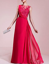 cheap -A-Line Jewel Neck Floor Length Chiffon / Lace Beautiful Back Formal Evening Dress with Crystal Brooch / Lace Insert 2020