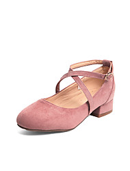 cheap -Women's Heels Low Heel Round Toe Suede Casual / Minimalism Spring & Summer Black / Pink / Beige