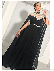 cheap -A-Line High Neck Floor Length Chiffon Sparkle & Shine Formal Evening Dress with Beading / Sash / Ribbon by JUDY&JULIA