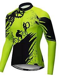 abordables -21Grams Nouveauté Equipement Homme Manches Longues Maillot Velo Cyclisme - Vert Vélo Maillot Hauts / Top Résistant aux UV Respirable Evacuation de l'humidité Des sports Hiver Toison Polyester