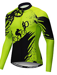 cheap -21Grams Novelty Gear Men's Long Sleeve Cycling Jersey - Green Bike Jersey Top UV Resistant Breathable Moisture Wicking Sports Winter Fleece Polyester Elastane Mountain Bike MTB Road Bike Cycling