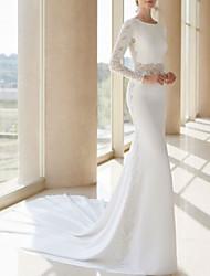 cheap -Sheath / Column Jewel Neck Court Train Satin Long Sleeve Wedding Dresses with Appliques 2020