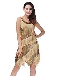 cheap -Women's Flapper Girl Latin Dance Flapper Dress Party Costume Tassel Sequins Sequin Polyster Black Golden Dress