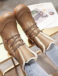 cheap -Women's Boots Comfort Shoes Flat Heel Round Toe Suede Booties / Ankle Boots Fall & Winter Brown / Dark Blue / Gray