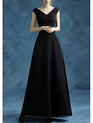 cheap -A-Line V Neck Floor Length Polyester Bridesmaid Dress with Bow(s)