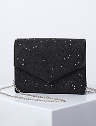 cheap -Women's Sequin / Chain Polyester Evening Bag Solid Color Black / White / Blushing Pink