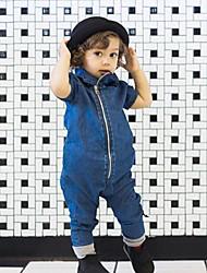 baratos -bebê Para Meninos Básico Sólido Manga Curta Peça Única Azul