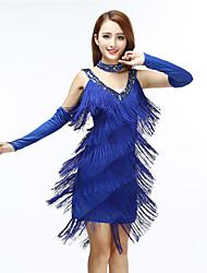 cheap -Women's Flapper Girl Latin Dance Flapper Dress Party Costume Tassel Flapper Costume Polyster Black Royal Blue Dress