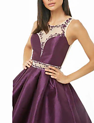 cheap -A-Line Jewel Neck Knee Length Taffeta / Tulle Elegant Cocktail Party / Holiday Dress with Sequin 2020