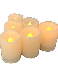 Недорогие -6 шт. 4 * 5 см пластиковые беспламенные светодиодные обету свечи на батарейках электрический чай свет реалистичный мерцающий пламя помахал краем с 5h таймер на велосипеде на Рождество украшение дома