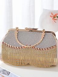 cheap -Women's Sequin / Tassel Satin / Alloy Evening Bag Color Block Light-gold