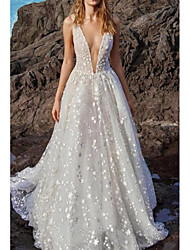 cheap -A-Line V Neck Floor Length Chiffon / Tulle Regular Straps Boho Wedding Dresses with Draping / Appliques 2020