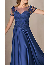 cheap -A-Line Bateau Neck Floor Length Charmeuse Short Sleeve Elegant & Luxurious Mother of the Bride Dress with Appliques / Ruching 2020
