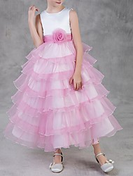 cheap -Ball Gown Ankle Length Flower Girl Dress - Polyester Sleeveless Jewel Neck with Tier