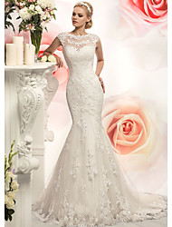cheap -Mermaid / Trumpet Jewel Neck Court Train Lace / Tulle Cap Sleeve Wedding Dresses with Appliques 2020