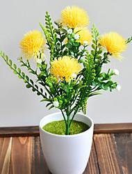 abordables -simulation 5 fourche eau herbe boule chrysanthème décoration de la maison en plein air