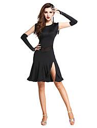 cheap -Latin Dance Dresses / Flamenco Women's Performance / Theme Party Milk Fiber Tassel Sleeveless Natural Dress