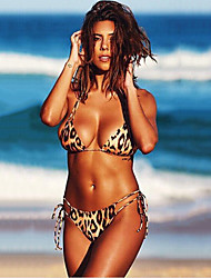 cheap -Women's Basic Brown Halter Cheeky Bikini Swimwear Swimsuit - Leopard Backless S M L Brown