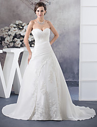 cheap -A-Line Wedding Dresses Sweetheart Neckline Court Train Satin Strapless with Ruched Beading Appliques 2021
