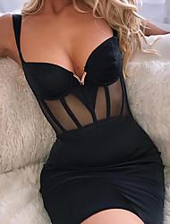 cheap -Women's Mini Slim Bodycon Dress - Solid Colored Strap Black Blushing Pink S M L