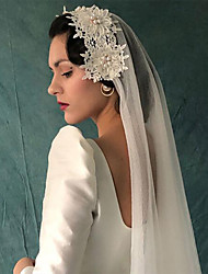 cheap -One-tier Classic Style / Lace Wedding Veil Elbow Veils with Solid 39.37 in (100cm) POLY / Lace