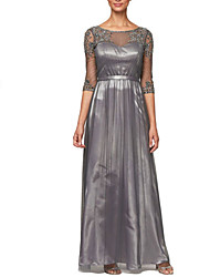 cheap -A-Line Jewel Neck Floor Length Polyester / Tulle 3/4 Length Sleeve Elegant & Luxurious Mother of the Bride Dress with Appliques / Pleats 2020