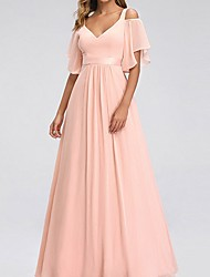 cheap -A-Line Straps Maxi Chiffon Bridesmaid Dress with Tier