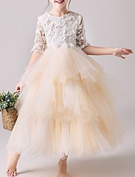 cheap -Ball Gown Ankle Length Pageant Flower Girl Dresses - Tulle Half Sleeve Jewel Neck with Tier / Appliques