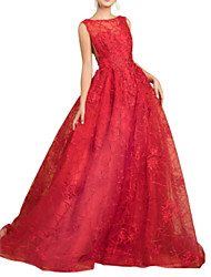 cheap -A-Line Open Back Prom Formal Evening Dress Boat Neck Sleeveless Sweep / Brush Train Satin Tulle with Pleats Embroidery 2020