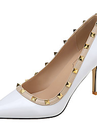 cheap -Women's Heels Stiletto Heel Pointed Toe Rivet Patent Leather Classic Spring &  Fall / Spring & Summer Black / White / Color Block
