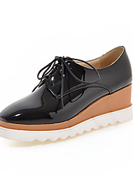 cheap -Women's Oxfords Wedge Heel Square Toe PU British / Preppy Spring &  Fall Black / Red / Beige