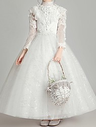 cheap -Ball Gown Ankle Length First Communion Flower Girl Dresses - Polyester Long Sleeve High Neck with Appliques