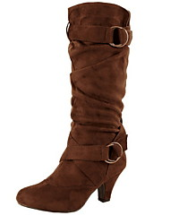 cheap -Women's Boots Low Heel Round Toe Suede Mid-Calf Boots Fall & Winter Black / Brown / Yellow