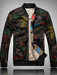 abordables -Homme Quotidien Normal Veste, camouflage Mao Manches Longues Polyester Vert